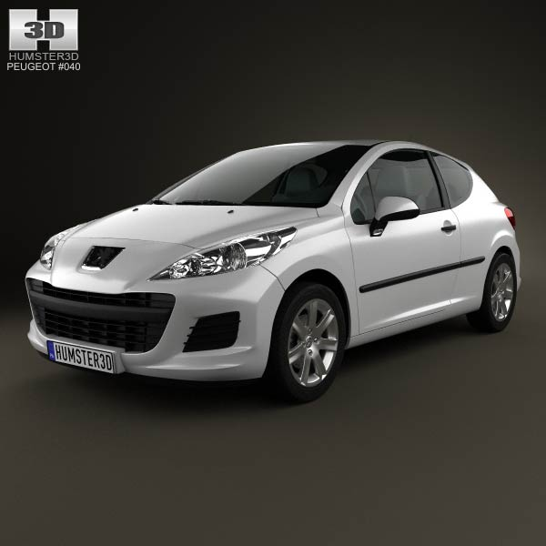 Peugeot 207 hatchback 3-door 2012 3d car model