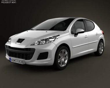 3D model of Peugeot 207 hatchback 5-door 2012