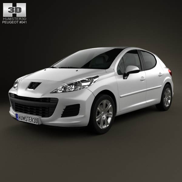 Peugeot 207 hatchback 5-door 2012 3d car model