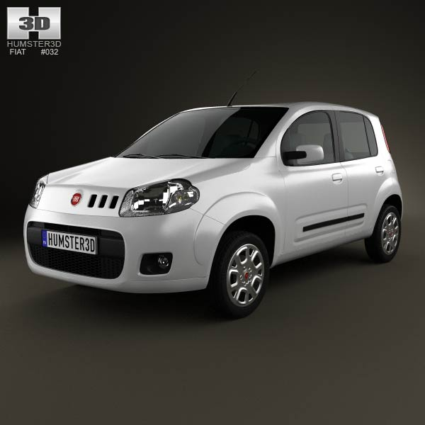 Fiat Uno Attractive hatchback 5-door 2013 3d car model