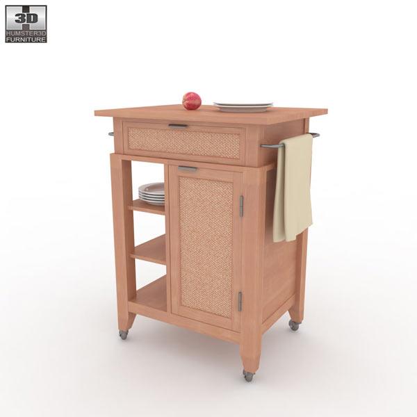 Jamaican Bay Small Kitchen Cart 3D Model
