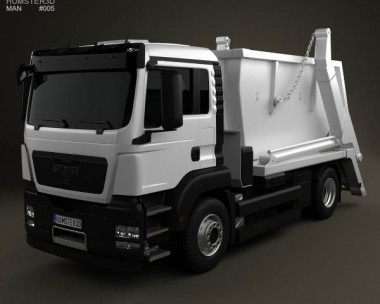 3D model of MAN TGS Skip Loader Truck 2012