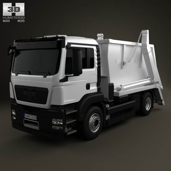 MAN TGS Skip Loader Truck 2012 3d car model