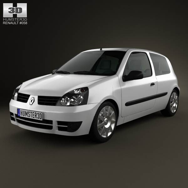 Renault Clio Mk2 3-door 2005 3d car model