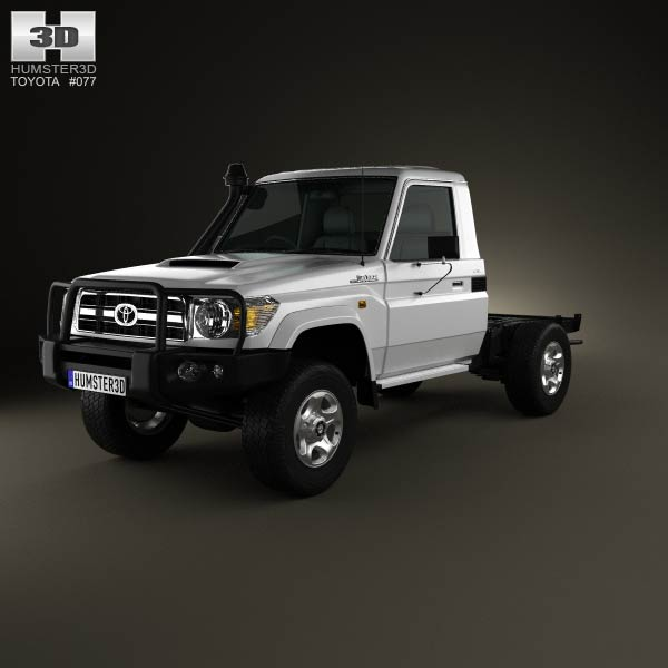 Toyota Land Cruiser (J70) Cab Chassis GXL 2008 3d car model