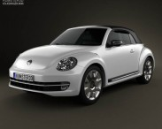 3D model of Volkswagen Beetle convertible 2013