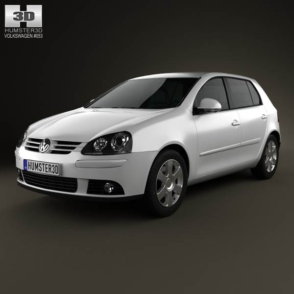 volkswagen golf mk5 5 door 2004 3d model humster3d. Black Bedroom Furniture Sets. Home Design Ideas