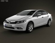 3D model of Honda Civic sedan with HQ interior 2012