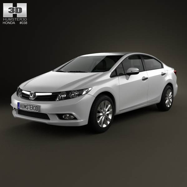 Honda Civic sedan with HQ interior 2012 3d car model