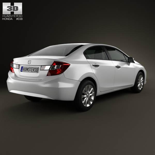 Honda Civic sedan with HQ interior 2012 3d model