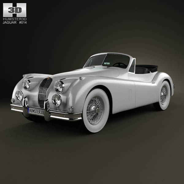 Jaguar XK 140 convertible with HQ interior 1954 3d car model