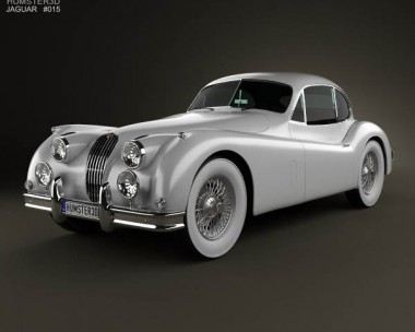 3D model of Jaguar XK 140 coupe with HQ interior 1954