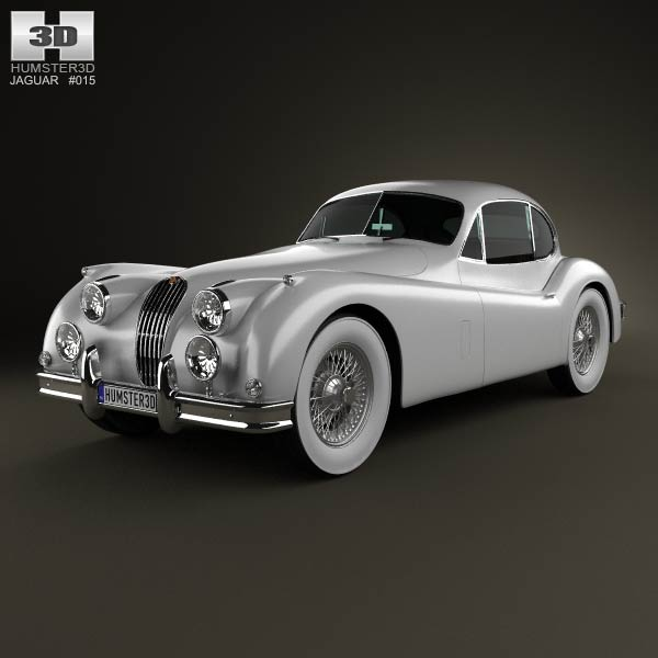 Jaguar XK 140 coupe with HQ interior 1954 3d model