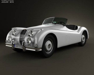 3D model of Jaguar XK 140 roadster with HQ interior 1954
