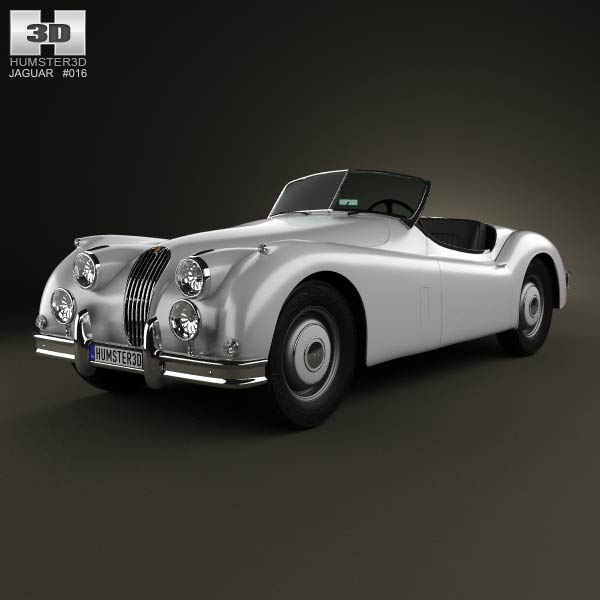 Jaguar XK 140 roadster with HQ interior 1954 3d car model