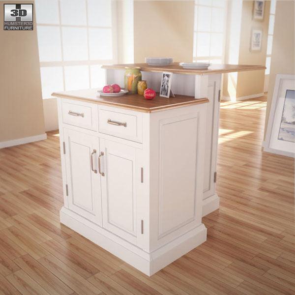 Woodbridge two tier kitchen island 3d model humster3d