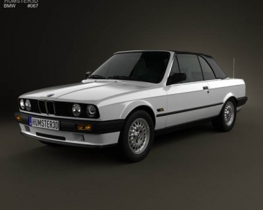 3D model of BMW 3 Series convertible (E30) 1990