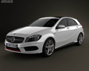 3D model of Mercedes-Benz A-class with HQ interior 2013