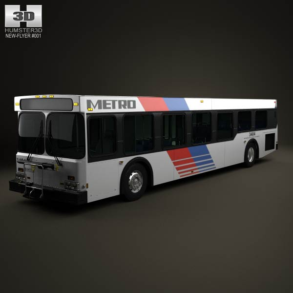 New Flyer D40LF Bus 2010 3d car model
