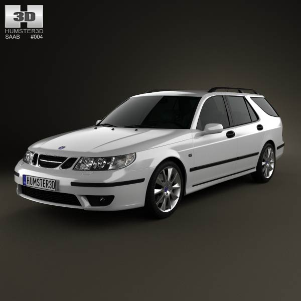 Saab 9-5 Aero wagon 2005 3d car model