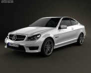 3D model of Mercedes-Benz C-Class 63 AMG coupe 2012