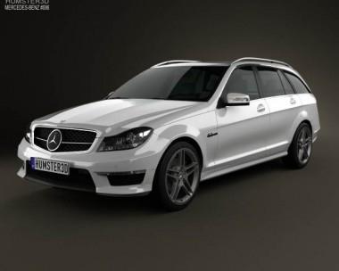 3D model of Mercedes-Benz C-Class 63 AMG estate 2012
