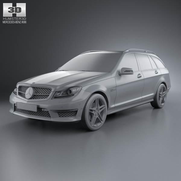 Mercedes benz c class 63 amg estate 2012 3d model humster3d for Mercedes benz 2012 models