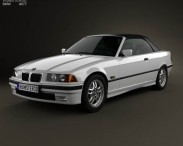 3D model of BMW 3 Series (E36) convertible 1994
