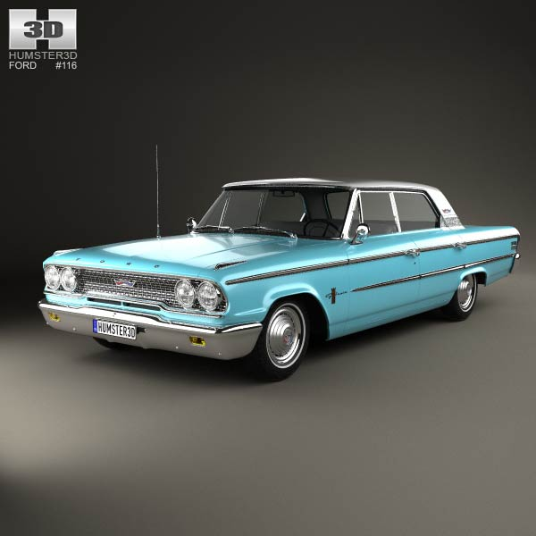 Ford Galaxie 500 4-door hardtop 1963 3d car model