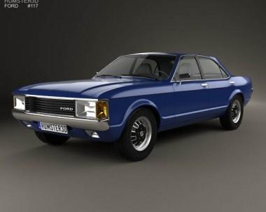 3D model of Ford Granada 4-door sedan EU 1972