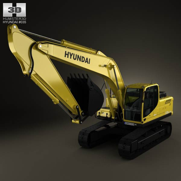 Hyundai R220LC-9S Excavator 2013 3d car model