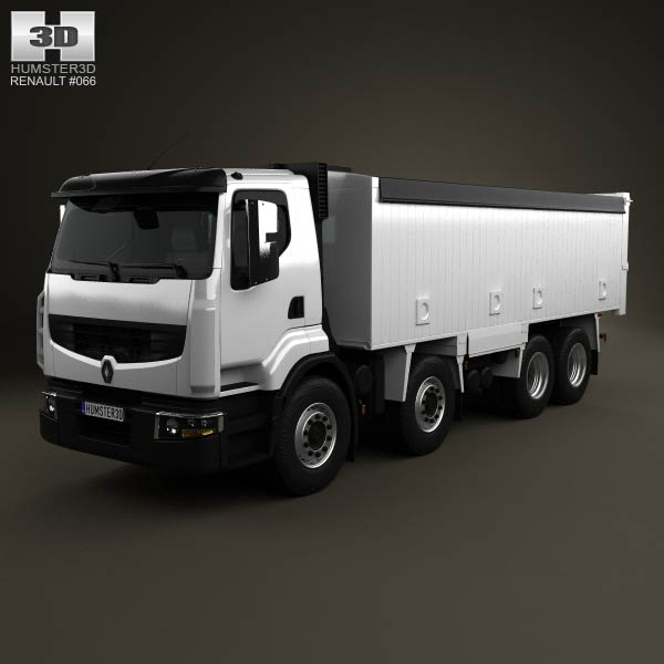 Renault Premium Lander Tipper Truck 4-axis 2012 3d car model