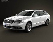 3D model of Skoda Superb Combi 2014
