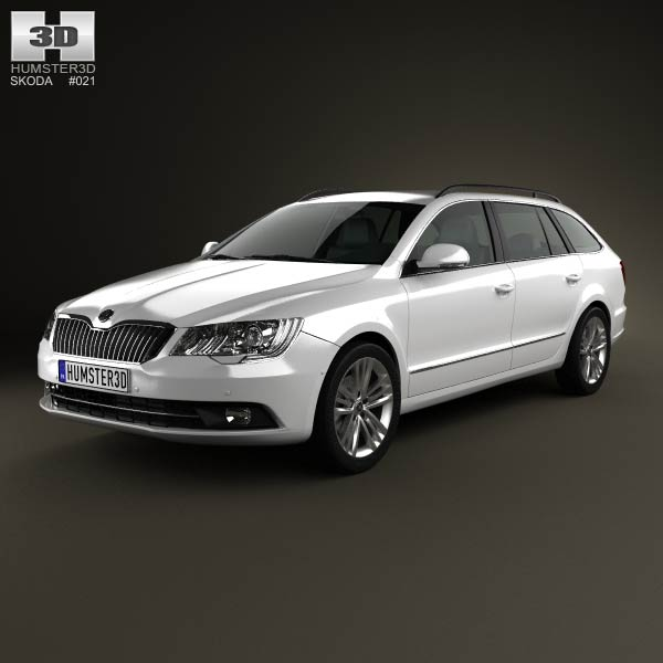 Skoda Superb Combi 2014 3d car model