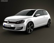 3D model of Volkswagen Golf 3-door GTI 2014