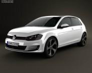3D model of Volkswagen Golf 5-door GTI 2014