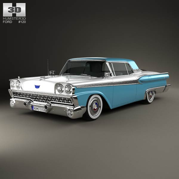 Ford Fairlane 500 Galaxie Skyliner 1959 3d model
