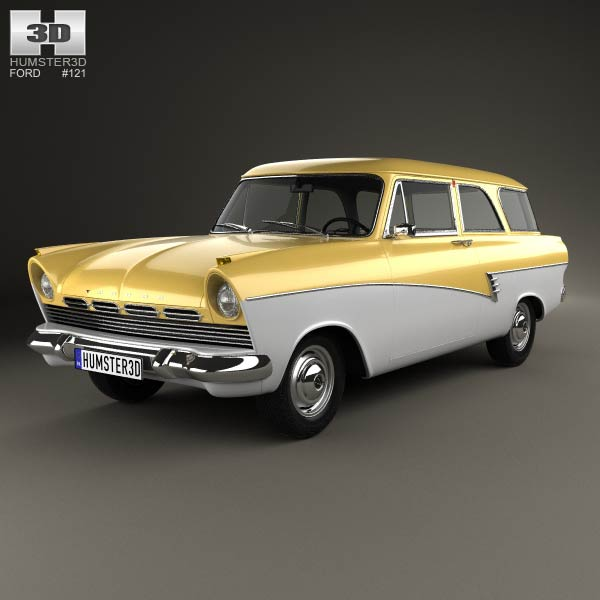 Ford Taunus P2 17M kombi 1957 3d car model