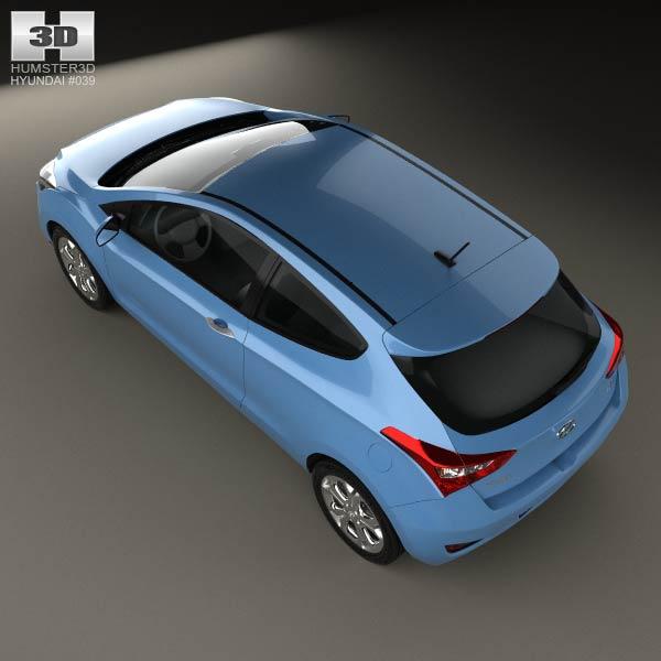 3d model of hyundai i30 3 door hatchback 2013