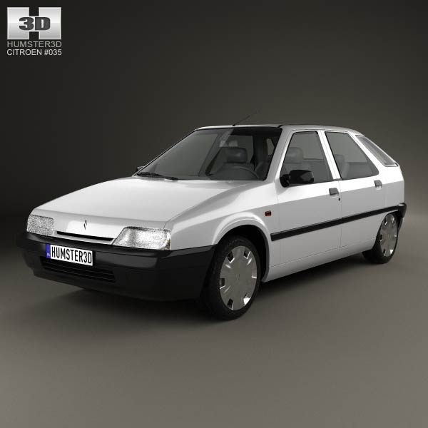 Citroen ZX 5-door hatchback 1991 3d car model
