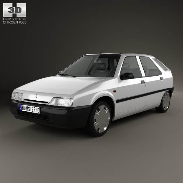 Citroen ZX 5-door hatchback 1991 3d car model