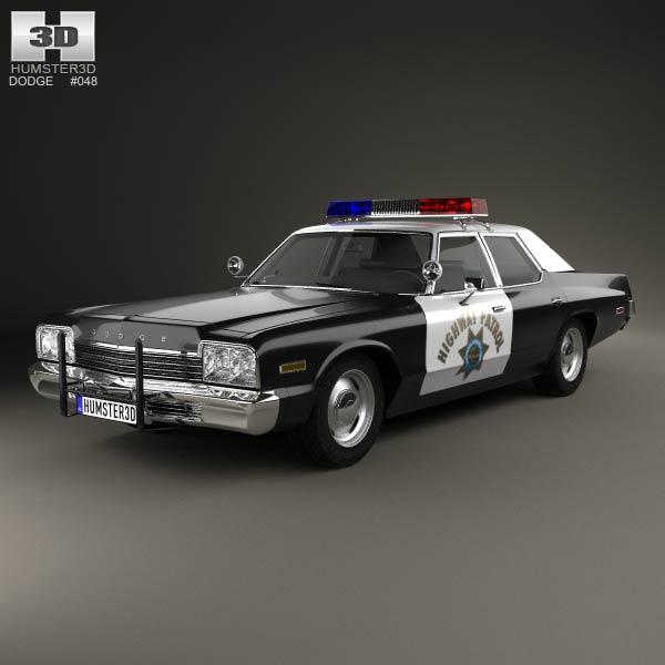 Dodge Monaco Police 1974 3d car model