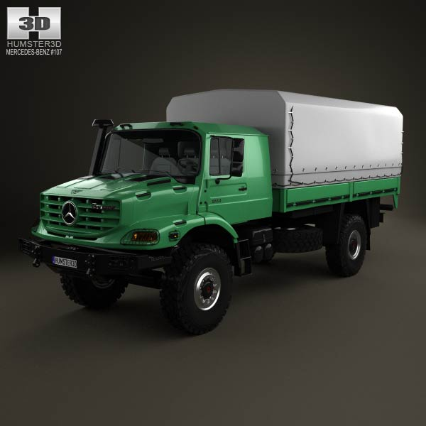 Mercedes-Benz Zetros 2-axis Flatbed Truck 2008 3d car model