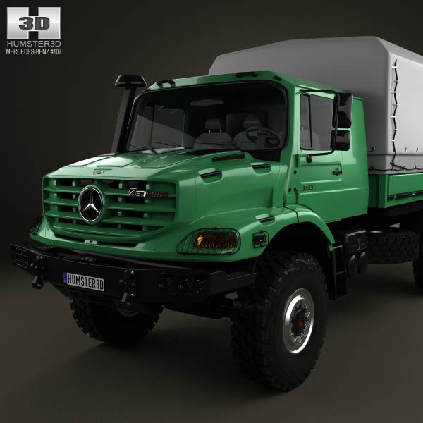 Mercedes benz zetros flatbed truck 2008 3d model humster3d for 2008 mercedes benz truck