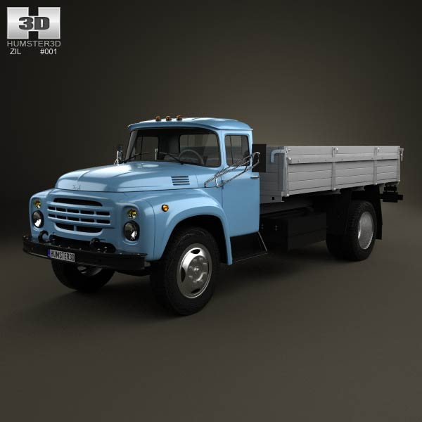 ZIL 130 Flatbed Truck 2-axis 1964 3d car model