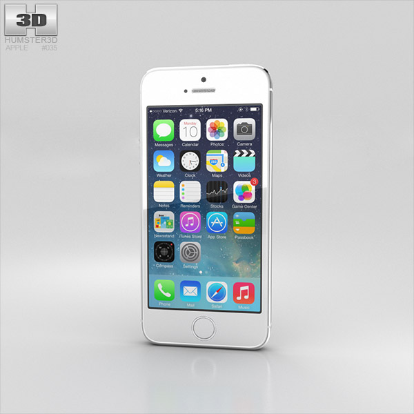 Apple iPhone 5S Silver (White) 3D model - Humster3D
