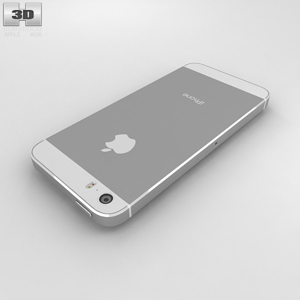 apple iphone 5s silver white 3d model humster3d. Black Bedroom Furniture Sets. Home Design Ideas