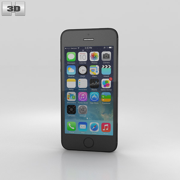Apple iPhone 5S Space Gray (Black) 3D model - Humster3D
