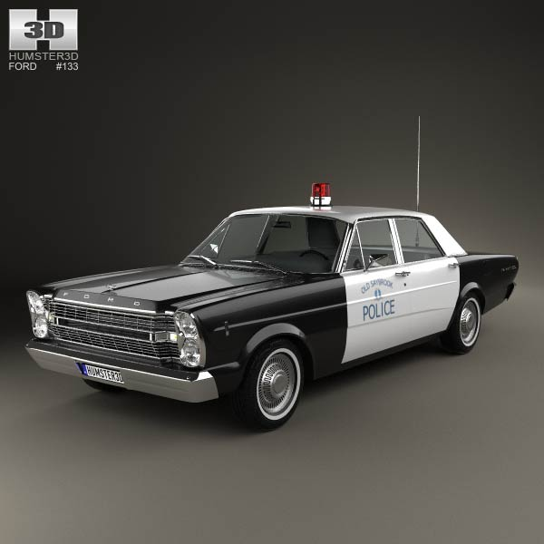 Ford Galaxie 500 Police 1966 3d model