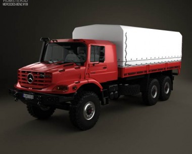 3D model of Mercedes-Benz Zetros Flatbed Truck 3-axle 2008
